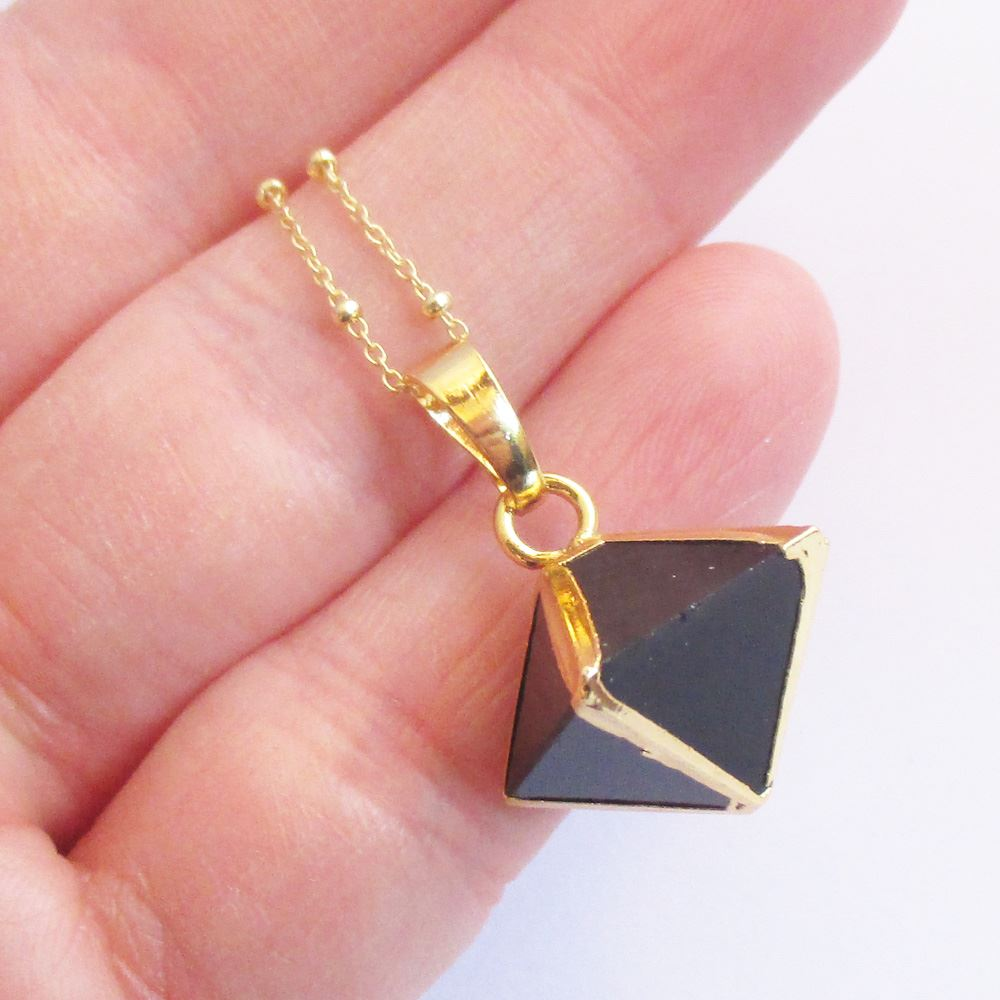 Gemstone Octohedron Pendant Necklace - Black Agate 8 Sides Gem and Gold Necklace - Gold plated Sterling Silver Beaded Necklace Chain