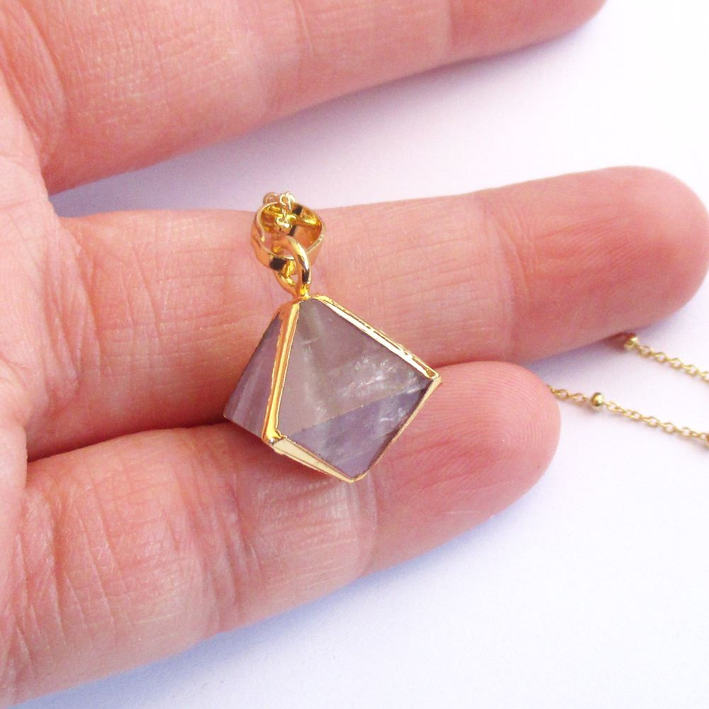 Gemstone Octohedron Pendant Necklace - Amethyst 8 Sides Gem and Gold Necklace - Gold plated Sterling Silver Beaded Necklace Chain