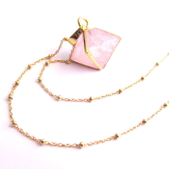 Gemstone Octohedron Pendant Necklace - Rose Quartz 8 Sides Gem and Gold Necklace - Gold plated Sterling Silver Beaded Necklace Chain