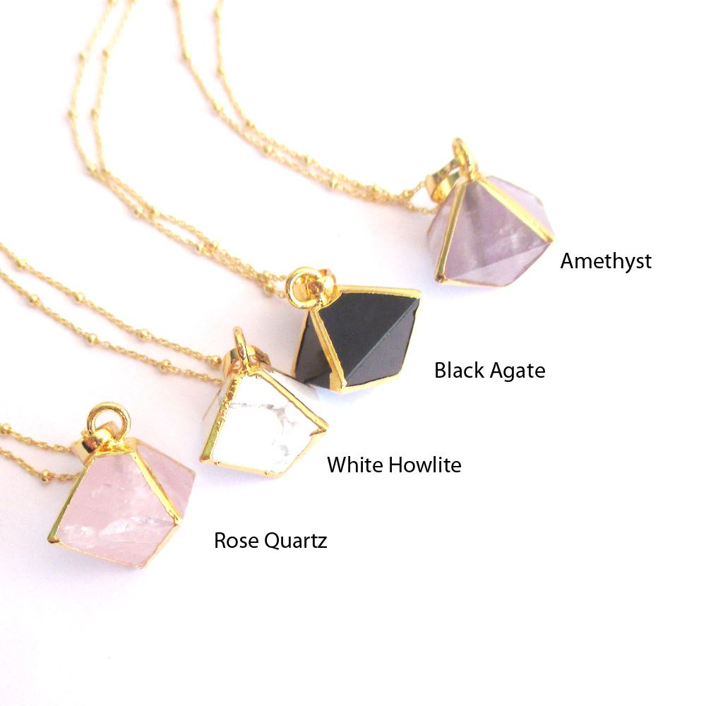 Gemstone Octohedron Pendant Necklace - White Howlite 8 Sides Gem and Gold Necklace - Gold plated Sterling Silver Beaded Necklace Chain