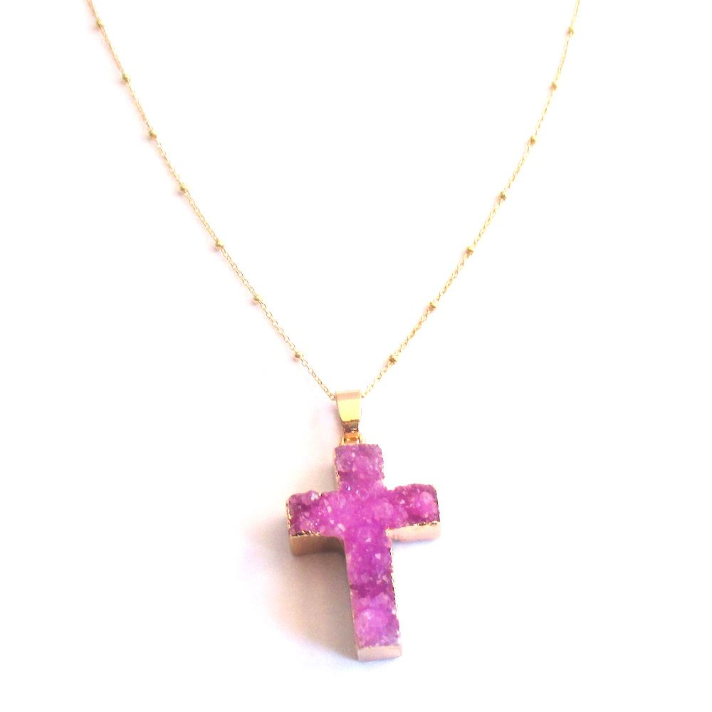 Druzy Gem Cross Pendant Necklace - Pink Druzy Agate Cross and Gold Necklace - Gold plated Sterling Silver Beaded Necklace Chain