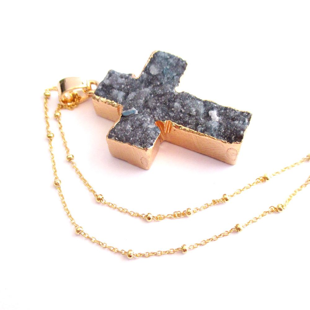 Druzy Gem Cross Pendant Necklace - Black Druzy Agate Cross and Gold Necklace - Gold plated Sterling Silver Beaded Necklace Chain