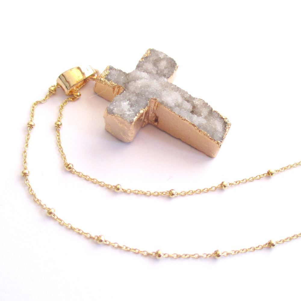 Druzy Gem Cross Pendant Necklace - Grey Druzy Agate Cross and Gold Necklace - Gold plated Sterling Silver Beaded Necklace Chain