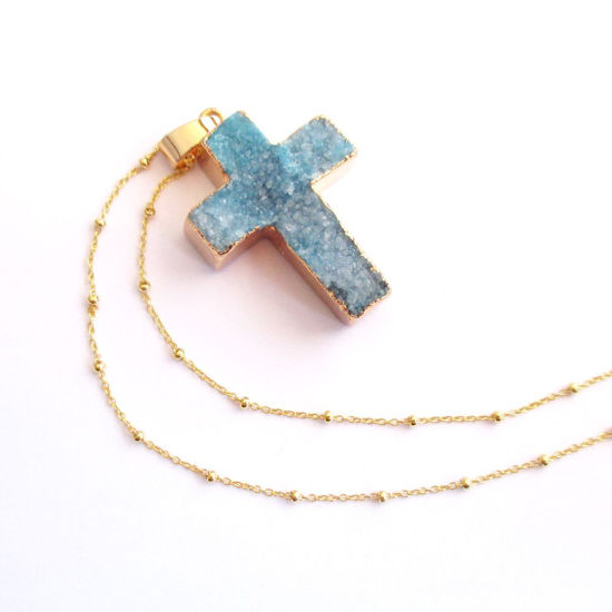 Druzy Gem Cross Pendant Necklace - Teal Druzy Agate Cross and Gold Necklace - Gold plated Sterling Silver Beaded Necklace Chain