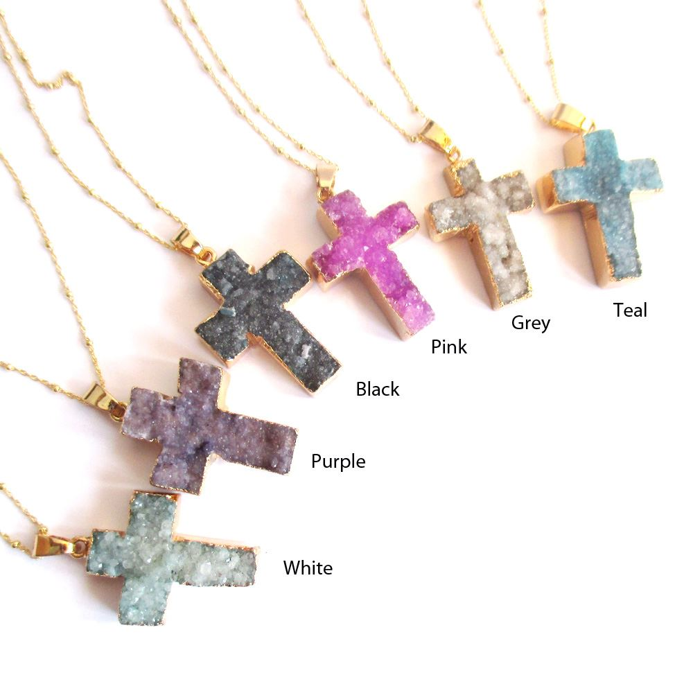 Druzy Gem Cross Pendant Necklace - Purple Druzy Agate Cross and Gold Necklace - Gold plated Sterling Silver Beaded Necklace Chain