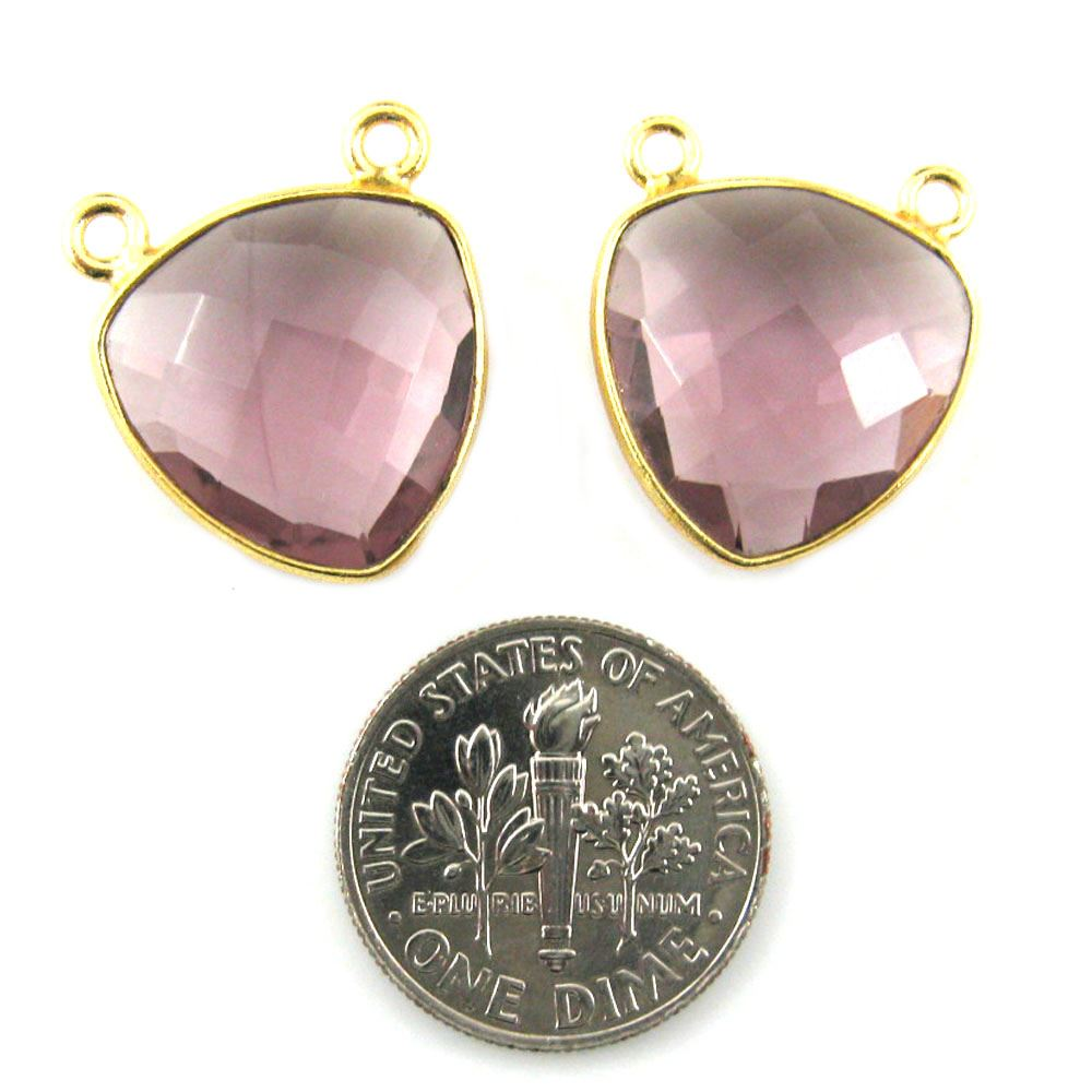 Bezel Gemstone Connector Pendant - Pink Amethyst Quartz - Gold plated Sterling Silver - Small Trillion Shaped Faceted - 15mm - 1 piece