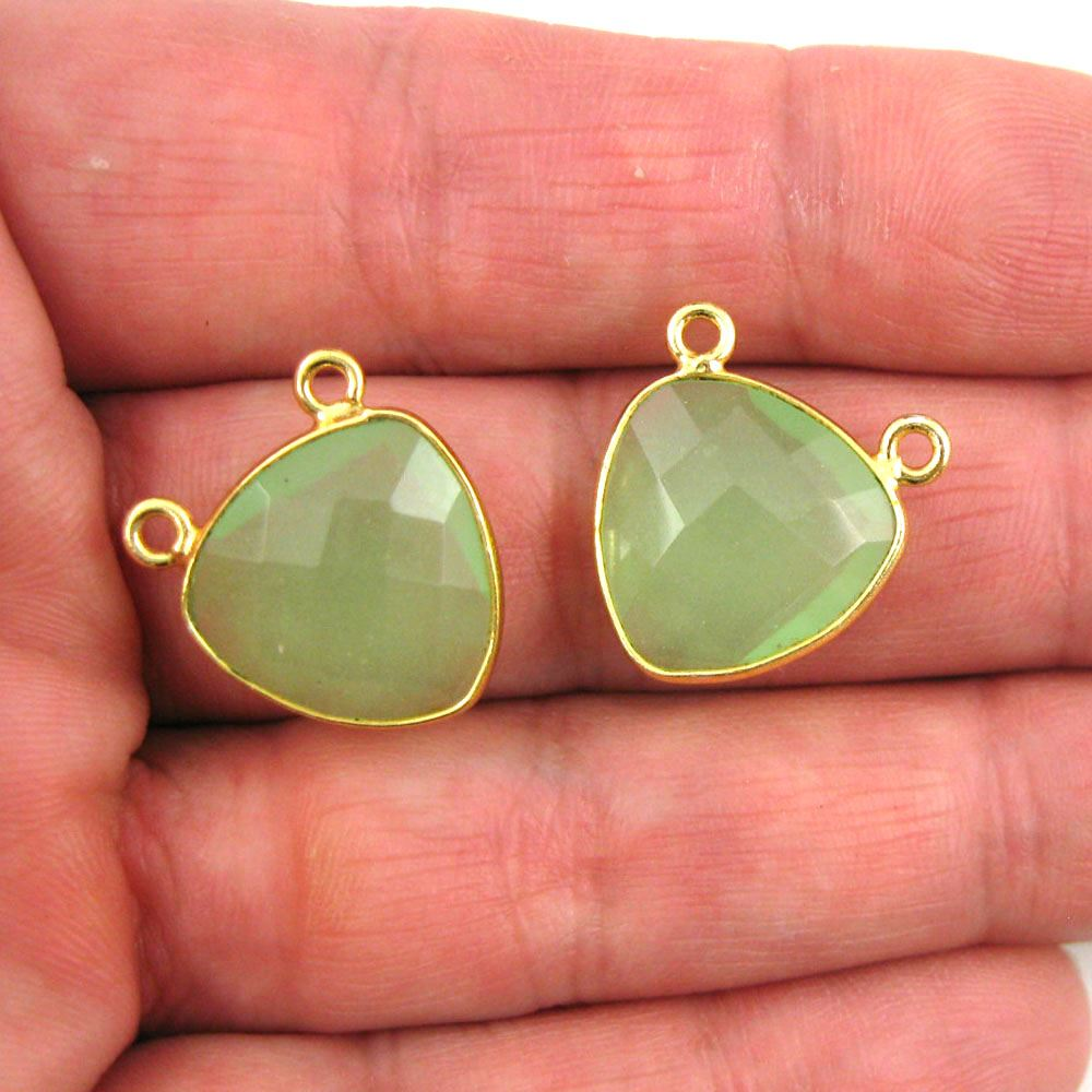 Bezel Gemstone Connector Pendant - Prehnite Chalcedony - Gold plated Sterling Silver - Small Trillion Shaped Faceted - 15mm - 1 piece