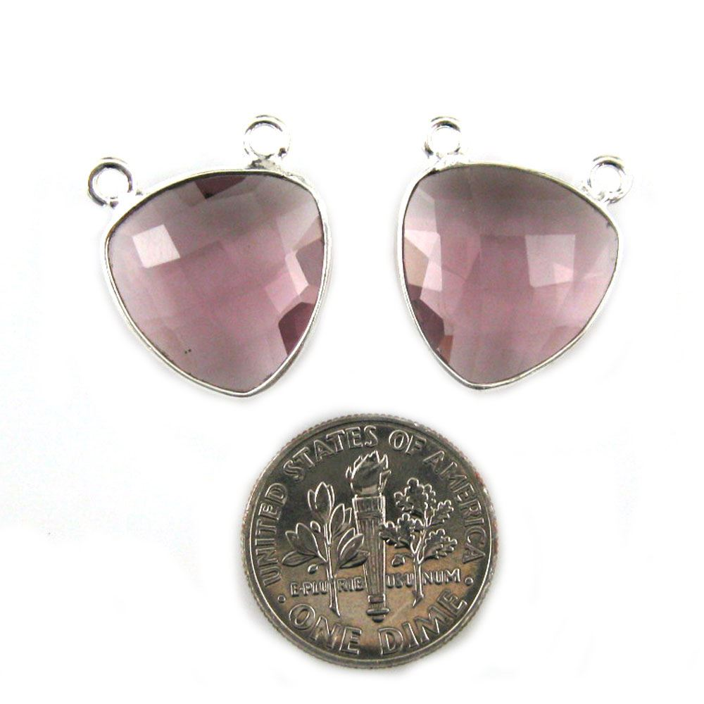 Bezel Gemstone Connector Pendant - Pink Amethyst Quartz - Sterling Silver - Small Trillion Shaped Faceted - 15mm - 1 piece