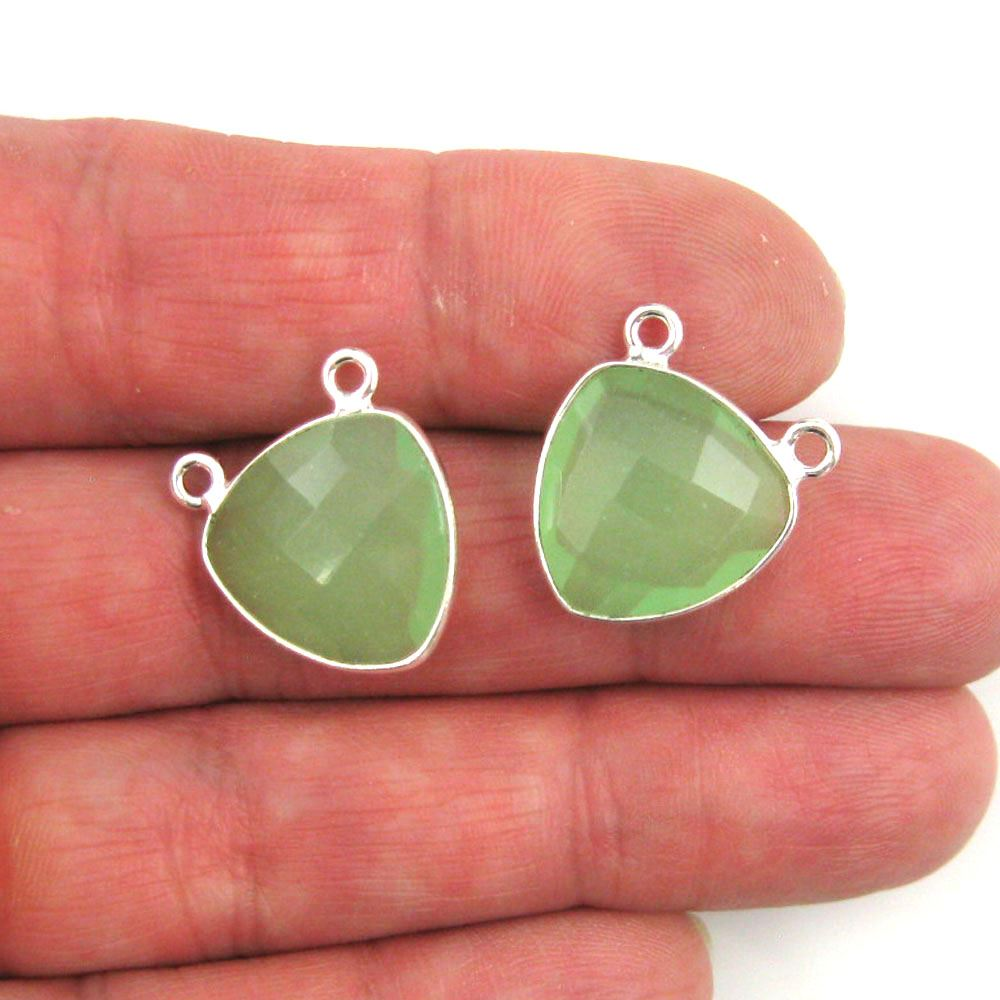 Bezel Gemstone Connector Pendant - Prehnite Chalcedony - Sterling Silver - Small Trillion Shaped Faceted - 15mm - 1 piece