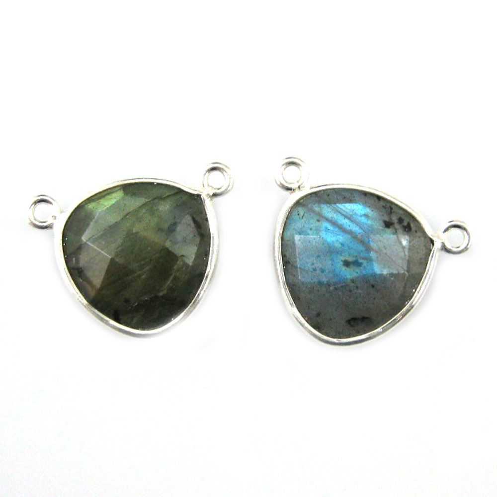 Bezel Gemstone Connector Pendant - Labradorite - Sterling Silver - Small Trillion Shaped Faceted - 15mm - 1 piece