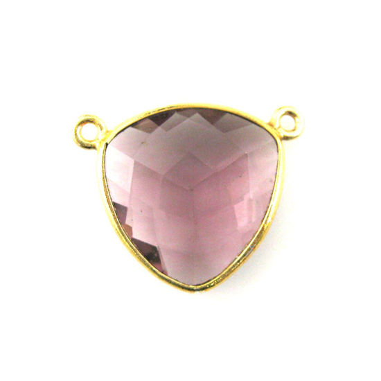 Bezel Gemstone Connector Pendant - Pink Amethyst Quartz - Gold plated Sterling Silver - Large Trillion Shaped Faceted - 18 mm - 1 piece