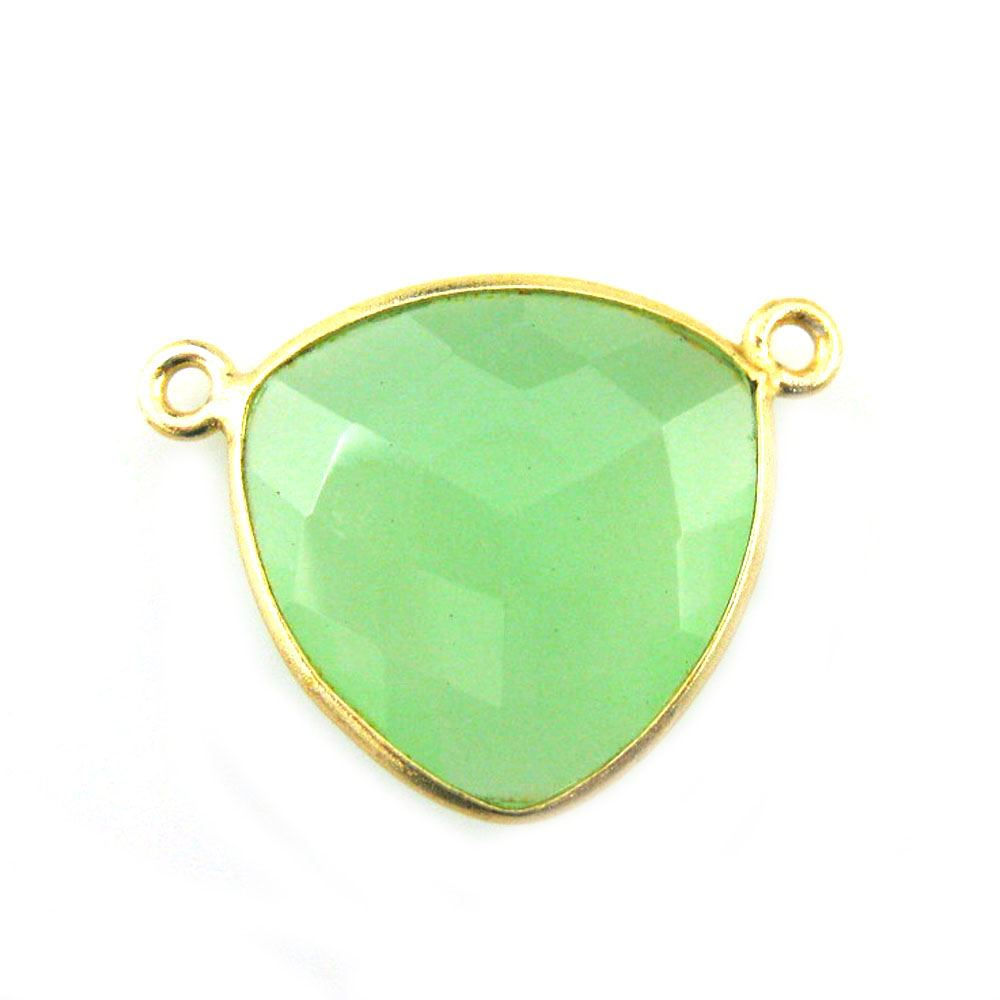 Bezel Gemstone Connector Pendant - Prehnite Chalcedony - Gold plated Sterling Silver - Large Trillion Shaped Faceted - 18 mm - 1 piece