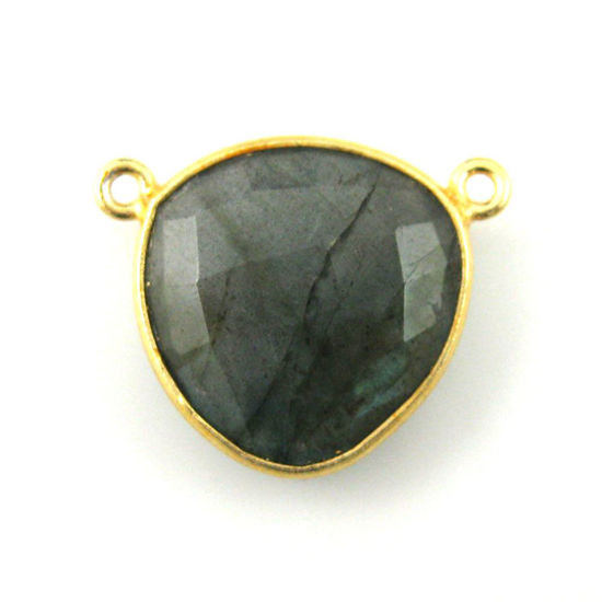 Bezel Gemstone Connector Pendant - Labradorite - Gold plated Sterling Silver - Large Trillion Shaped Faceted - 18 mm - 1 piece