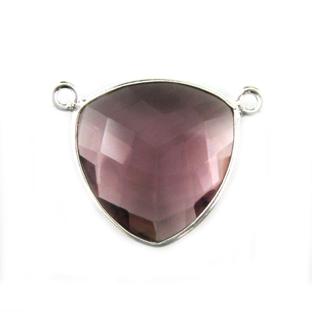 Bezel Gemstone Connector Pendant - Pink Amethyst Quartz - Sterling Silver - Large Trillion Shaped Faceted - 18 mm - 1 piece