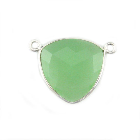 Bezel Gemstone Connector Pendant - Prehnite Chalcedony - Sterling Silver - Large Trillion Shaped Faceted - 18 mm - 1 piece
