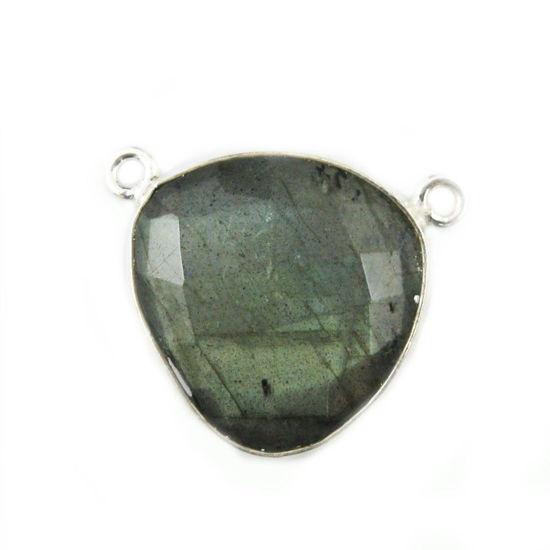 Bezel Gemstone Connector Pendant - Labradorite - Sterling Silver - Large Trillion Shaped Faceted - 18 mm - 1 piece