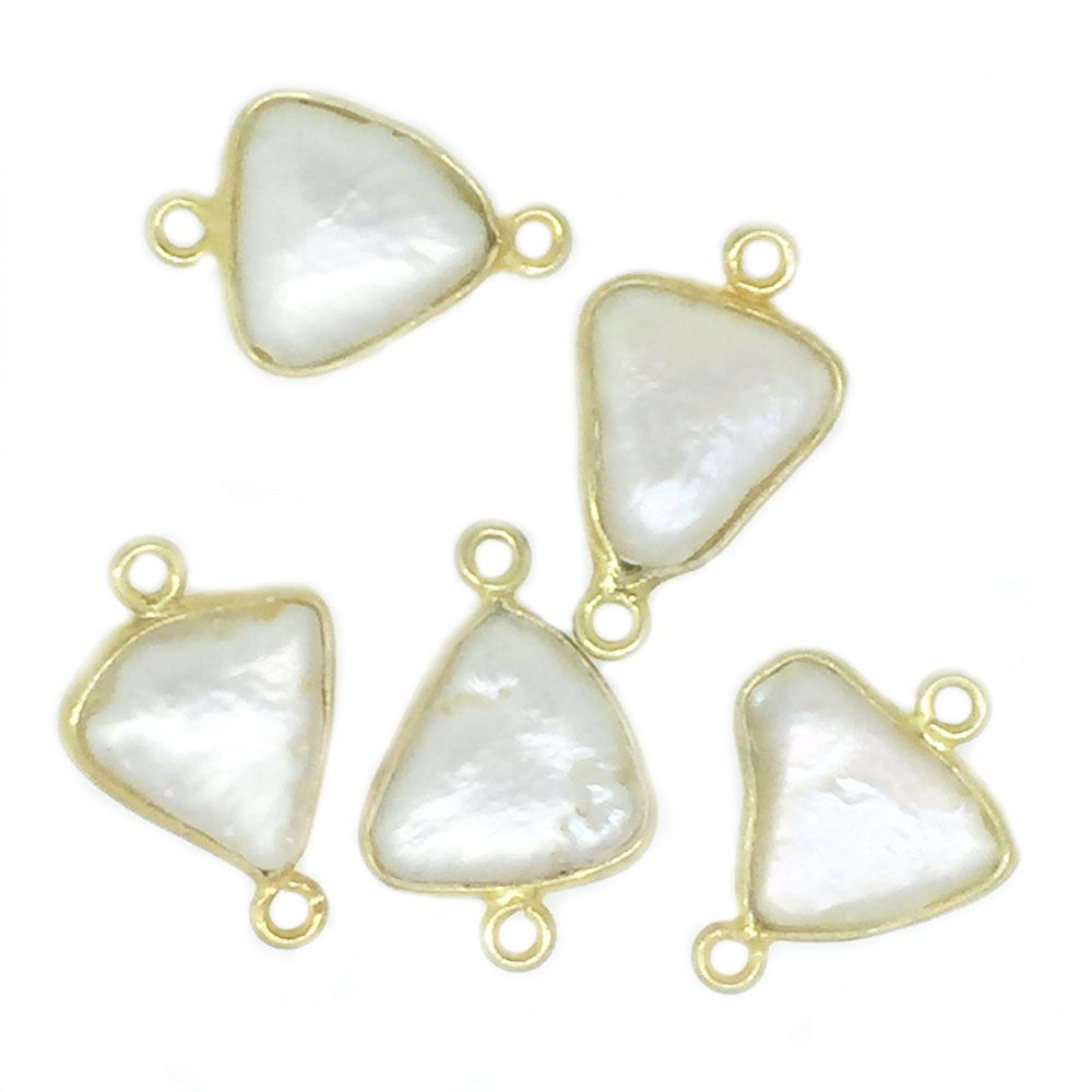 Bezel Gemstone Connectors - Gold plated Sterling Silver Bezel- 11-12mm Smooth Triangle Shape - White Freshwater Pearl Bezel (Sold per 2 pieces)