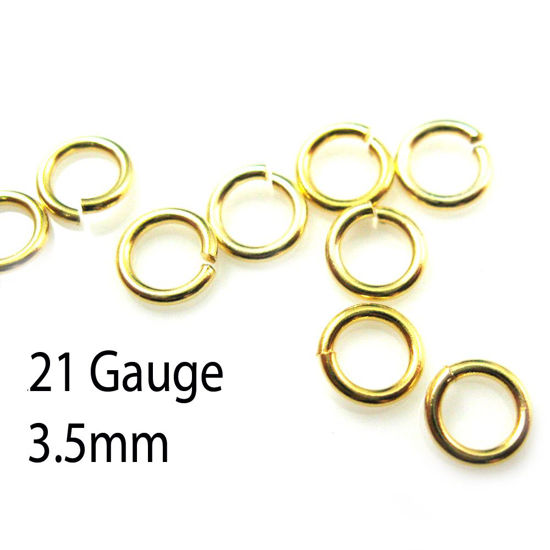 Gold plated Sterling Silver Open Jump Rings - 21 ga - 3.5mm OD ( 20pcs )