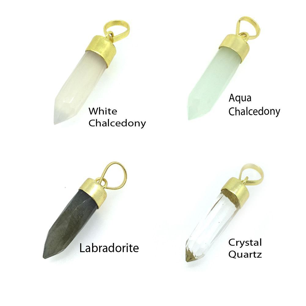 Gemstone Spike Pendant - Crystal Quartz - Gold plated Sterling Silver Gemstone Spike Pendant - Faceted Point Gem Pendant - 29mm