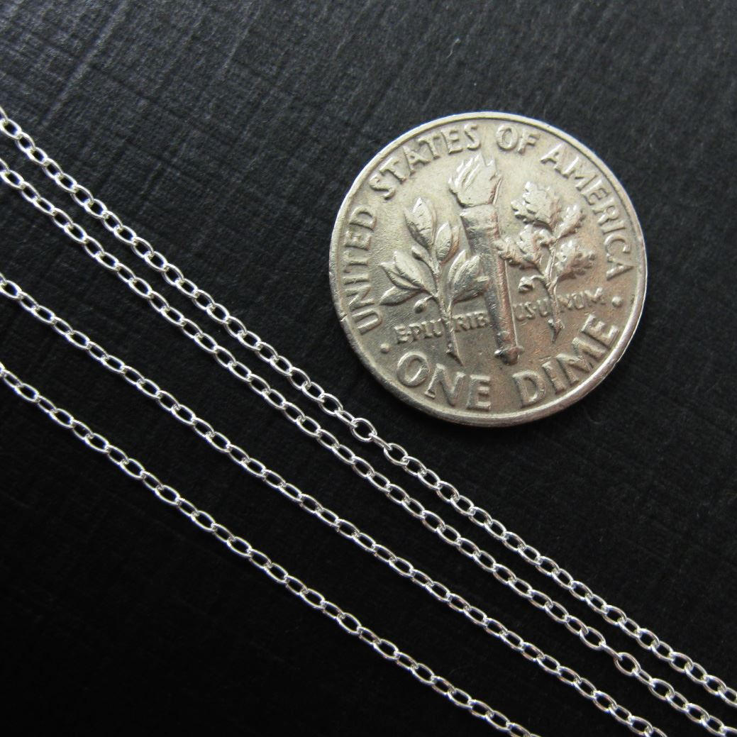 Sterling Silver Chain - 1.6 by 1.1mm Tiny Oval Cable Chain (sold per foot)