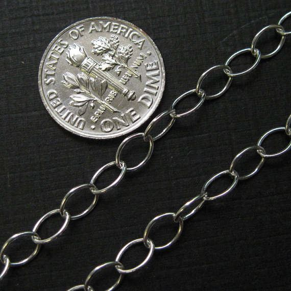 Sterling Silver Chain - 5 x 4 Thick Round Oval Cable Chain (sold per foot)