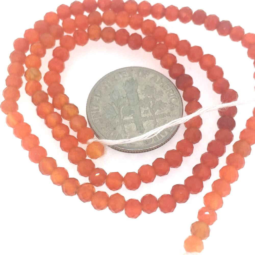 Gemstone beads - Genuine Carnelian Faceted Rondelle - 3-3.5mm - 13 inches full strand