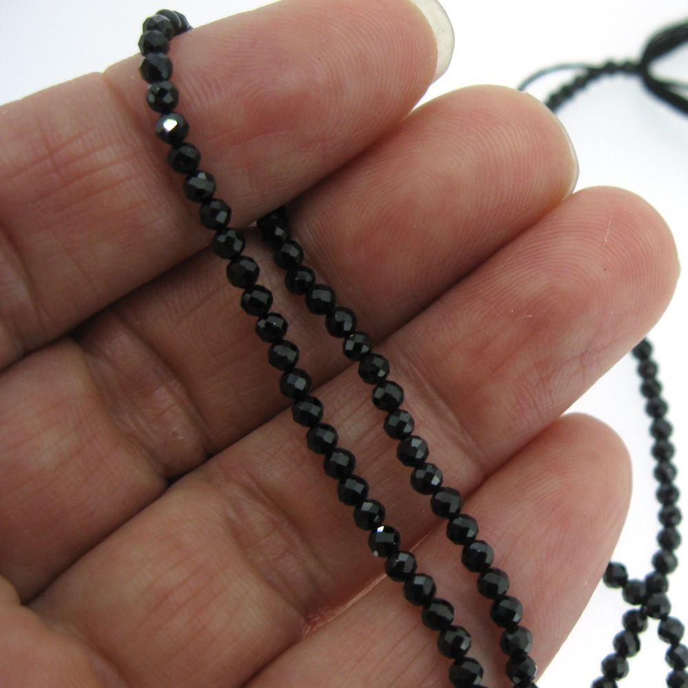 Semiprecious Gemstone Beads- Black Spinal -Gemstone Bead Faceted Round Shape- 2.5mm - 13 inch Strand