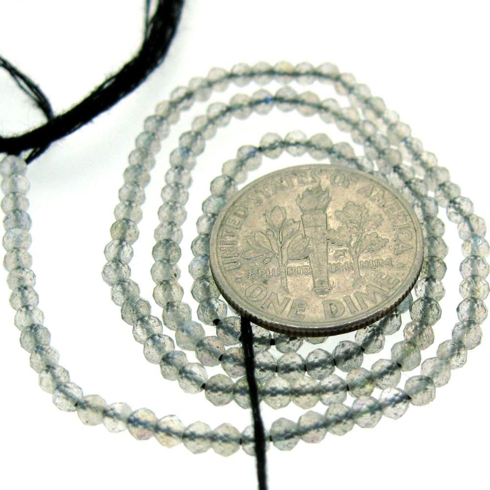 Semiprecious Gemstone Beads- Labradorite -Gemstone Bead Faceted Round Shape- 2.5mm - 13 inch Strand