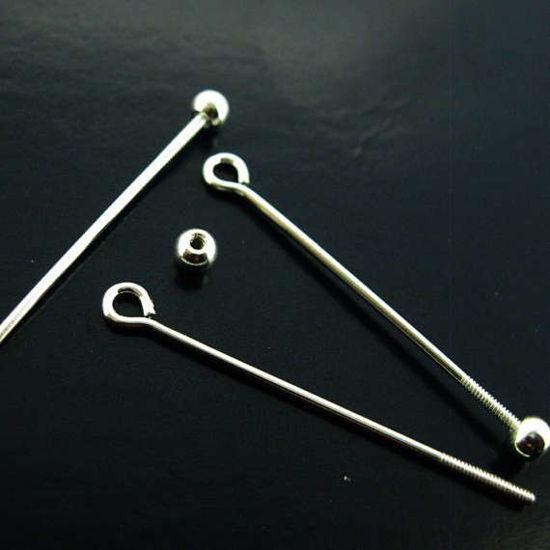 Sterling Silver Open Eye Ball Pin Bail - Screw on Ball Headpin Long Bail - 20mm ( 5 pcs)