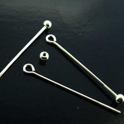 Sterling Silver Open Eye Ball Pin Bail - Screw on Ball Headpin Long Bail - 30mm ( 5 pcs)