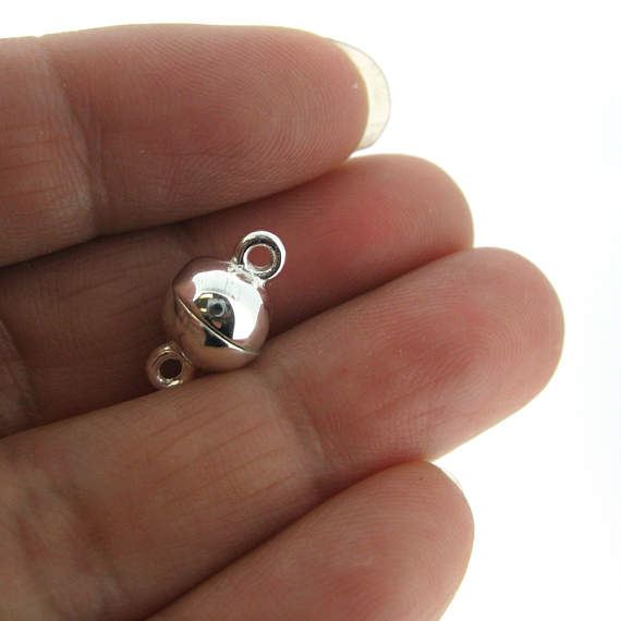 Sterling Silver Magnetic Clasp, 8mm Ball Toggle Clasp ( Sold per 1 set)