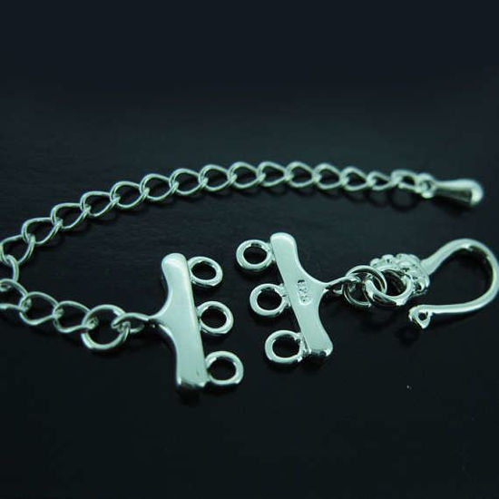 Multi Strand Silver Clasp- 3 Strand Clasp Connectors- Multi-Strand Clasp with Hook and Extender Chain ( Sold per 1 set)