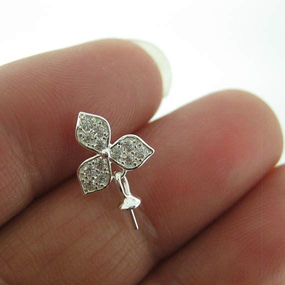 Sterling Silver Earrings Findings,Fancy Earrings-CZ Cubic Zirconia Stone,Three Leaf Flower, Bridal Earrings (1 pair)