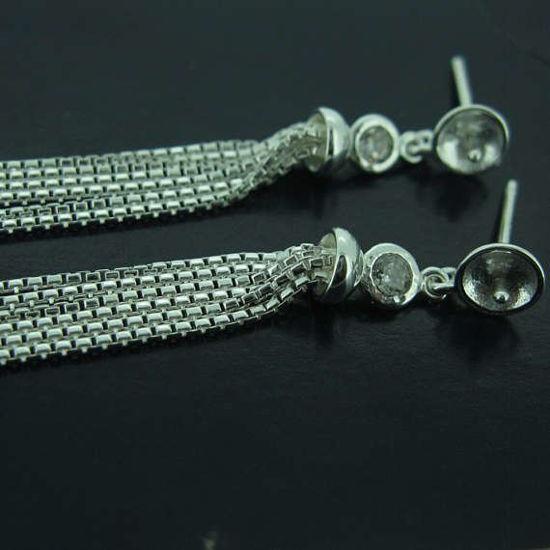 Sterling Silver Earrings Findings,Fancy Earrings-CZ Cubic Zirconia Stone,Fancy Tassel Earwire with Peg Bail, Bridal Earrings (1 pair)