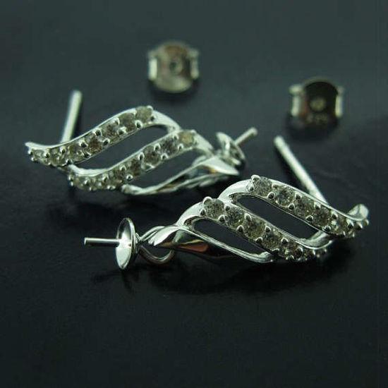 Sterling Silver Earrings Findings,Fancy Earrings-CZ Cubic Zirconia Stone,Fancy Flower Petal Earwire with Peg Bail, Bridal Earrings (1 pair)