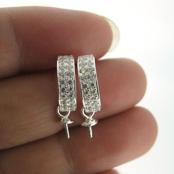 Sterling Silver Earrings Findings,Fancy Earrings-CZ Cubic Zirconia Stone,Fancy Half Circle Half Hoop Earwire with Peg Bail, Bridal Earrings (1 pair)