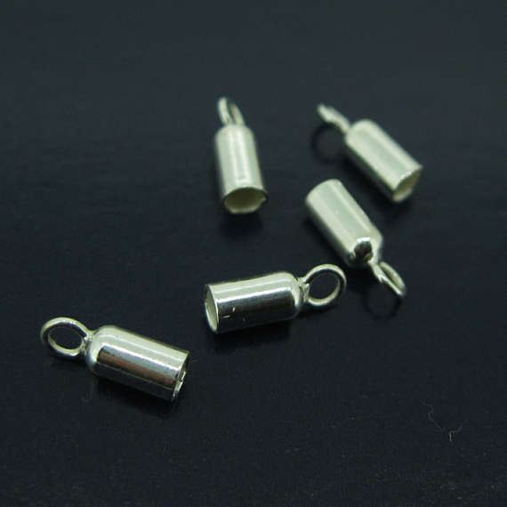 Sterling Silver Tube Ends - Smooth Round Tube Ends with Rings - 3mm- 10 pieces
