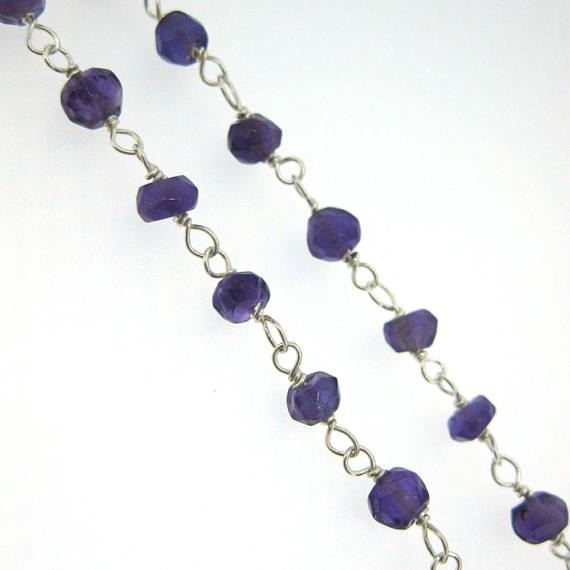 Sterling Silver Amethyst Quartz Rosary Chain By the Foot