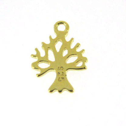 Gold Plated over Sterling Silver Tree charm- Tree of Life Charm- 11.5mm
