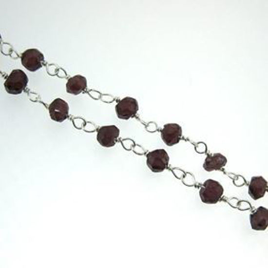 Sterling Silver Garnet Rosary Chain By the Foot