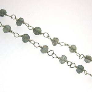 Sterling Silver Labradorite Rosary Chain By the Foot