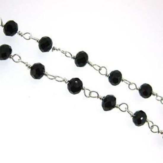 Sterling Silver Black Onyx Rosary Chain By the Foot