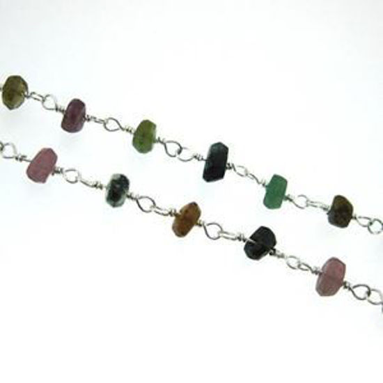 Sterling Silver Multi Tourmaline Rosary Chain By the Foot