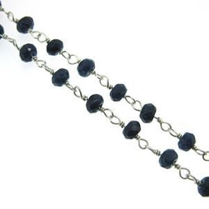 Sterling Silver Blue Sapphire Rosary Chain By the Foot