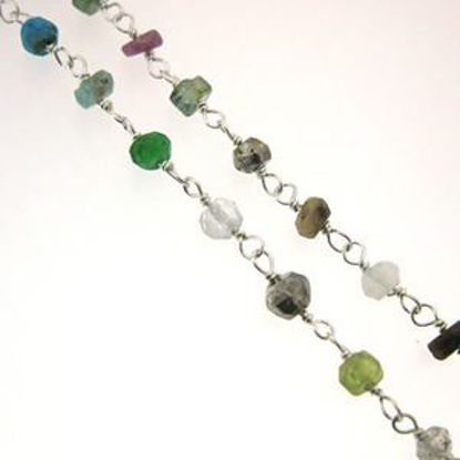 Sterling Silver Multi Stone Rosary Chain By the Foot