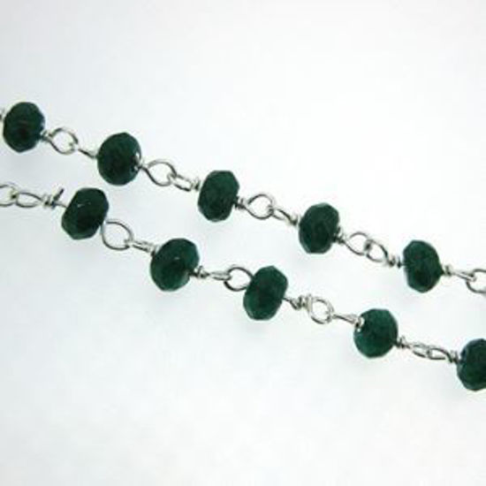 Sterling Silver Emerald Dyed Rosary Chain By the Foot
