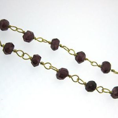 Gold over Sterling Silver Garnet Rosary Chain By the Foot