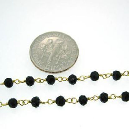 Gold over Sterling Silver Black Onyx Rosary Chain By the Foot