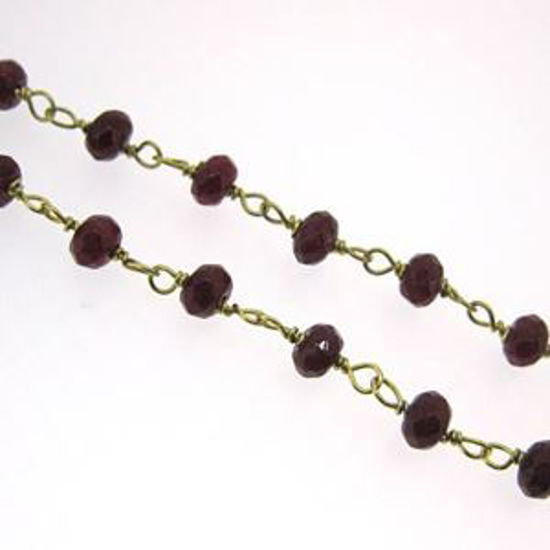 Gold over Sterling Silver Dyed Ruby Rosary Chain By the Foot