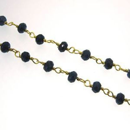 Gold over Sterling Silver Blue Sapphire Rosary Chain By the Foot